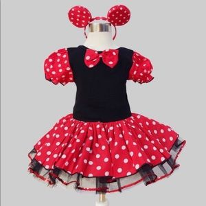 Girls Fashion Minnie Mouse Dress w/HeadBand Size 6